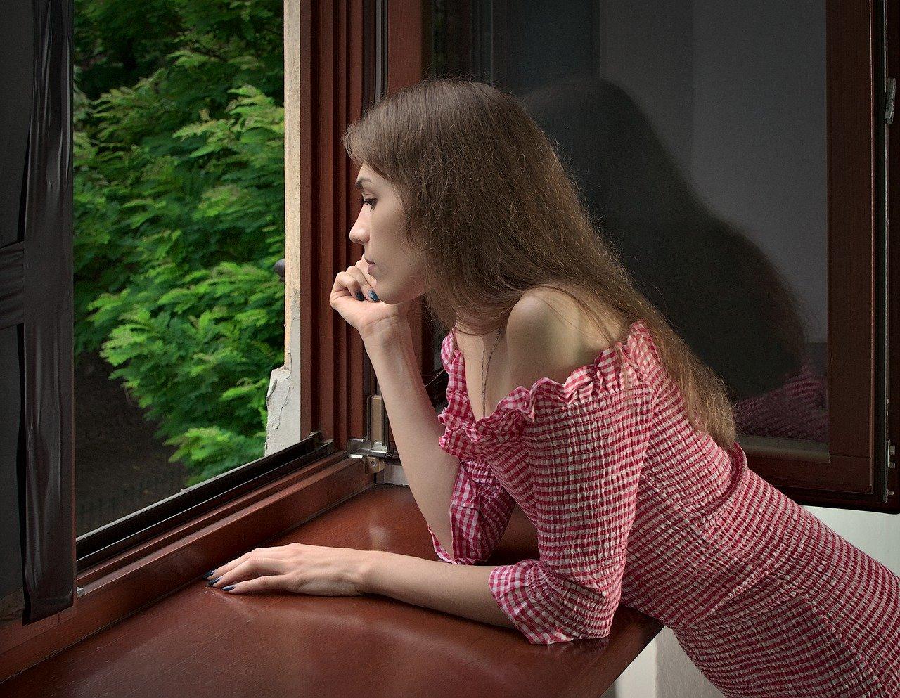 girl, window, beauty